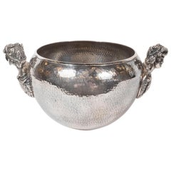 Neoclassical Greek Figurative Dappled Pewter Decorative Bowl