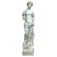Neoclassical Greek Goddess of Summer Life-Size Marble Statue Sculpture