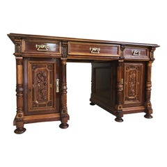 Neoclassical Gründerzeit Writing Table with Columns, 1870s