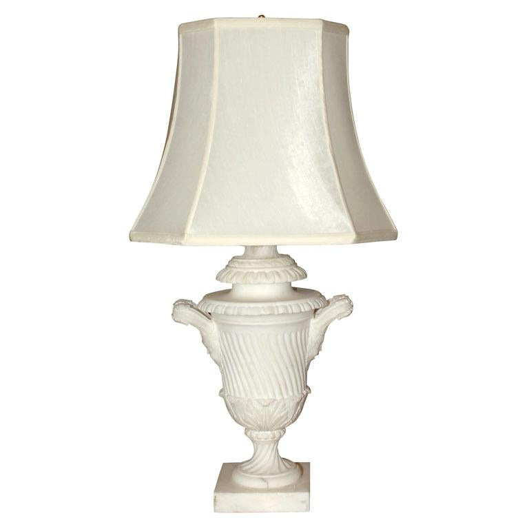 Neoclassical hand carved Alabaster Urn Lamp