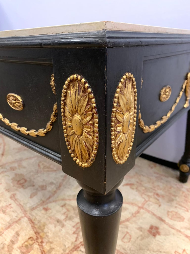 20th Century Neoclassical Hand Painted in Black and Gold with Faux Marble Top Cocktail Table For Sale