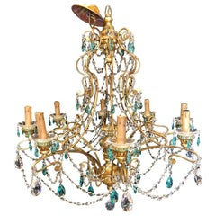 Neoclassical Handcrafted Italian Gilt Metal White & Turquoise Crystal Chandelier