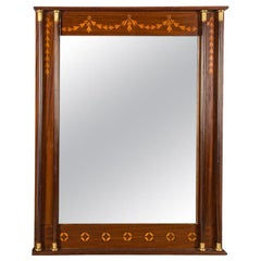 Neoclassical Inlaid Wood Mirror with Columns
