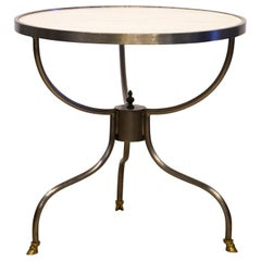Neoclassical Inspired Round Marble-Top Steel and Brass Mounted Side Table