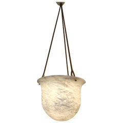 Neoclassical Inverted Bell Alabaster Pendant