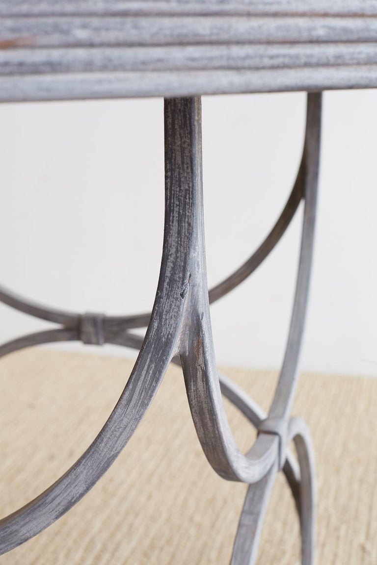 Neoclassical Iron and Stone Patio Garden Table For Sale 6