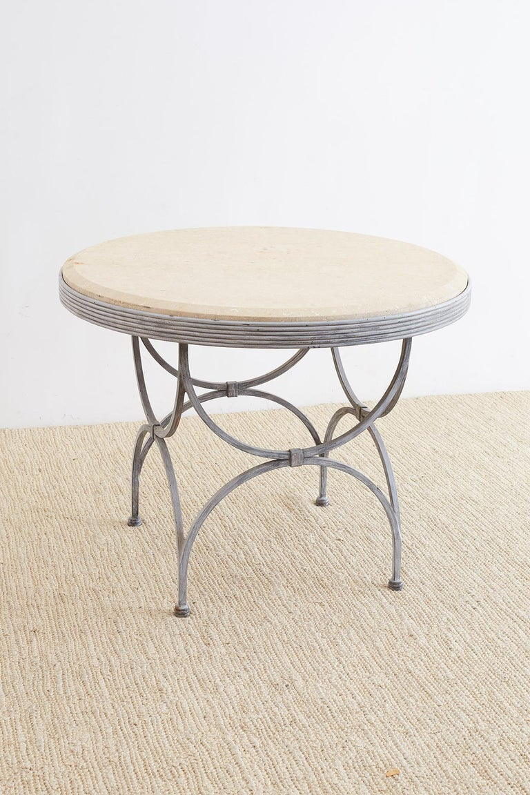 American Neoclassical Iron and Stone Patio Garden Table For Sale