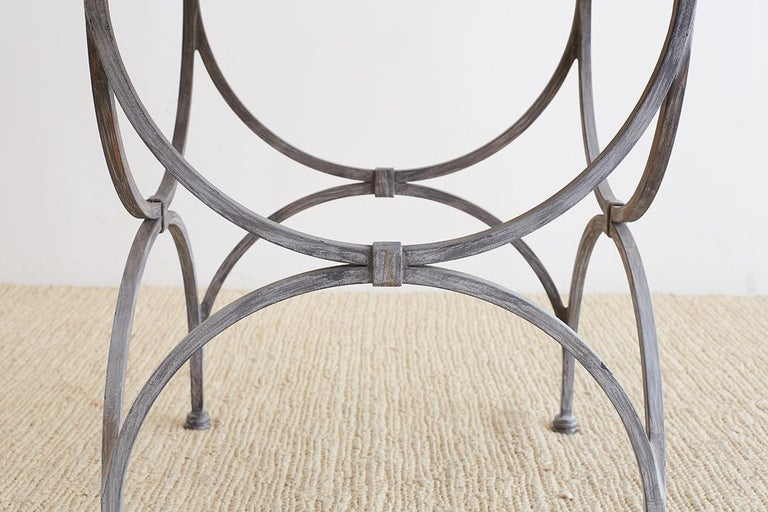 Neoclassical Iron and Stone Patio Garden Table In Good Condition For Sale In Oakland, CA