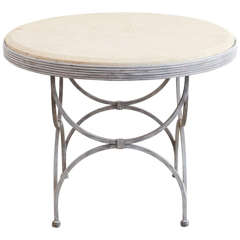 Neoclassical Iron and Stone Patio Garden Table For Sale