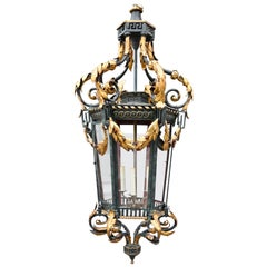 Neoclassical Iron and Tole Hall Lantern, Early 20th Century
