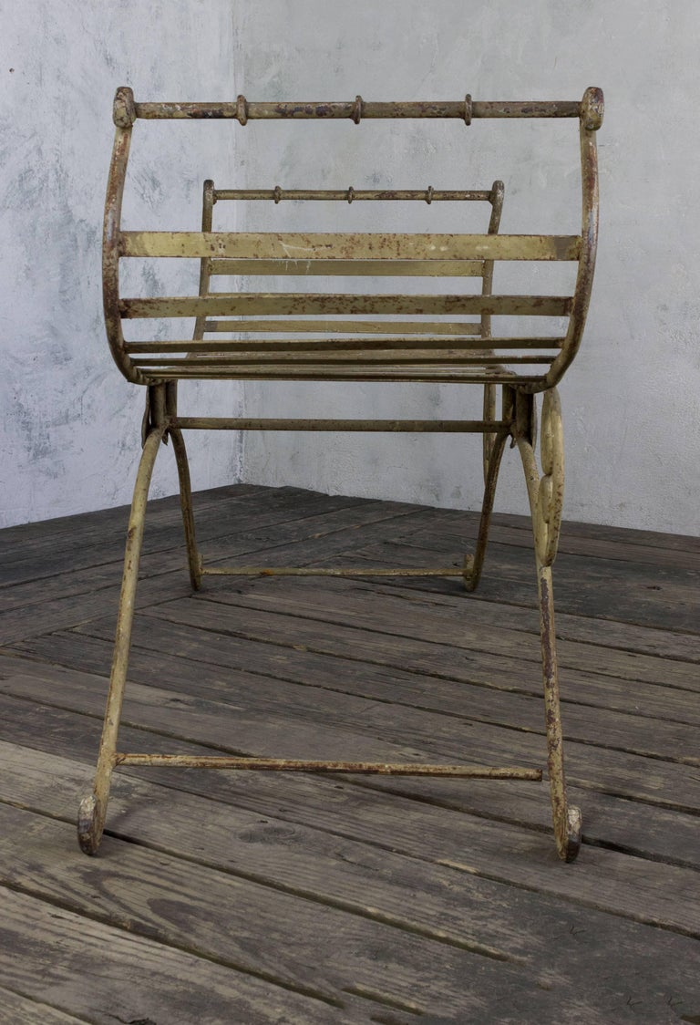 Wrought Iron Neoclassical Iron Bench For Sale