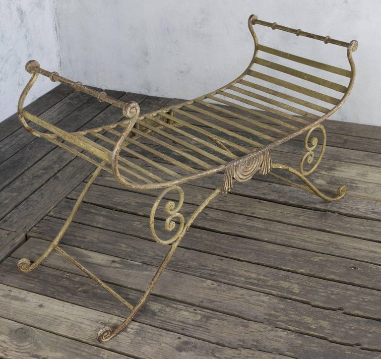 Neoclassical Iron Bench For Sale 1