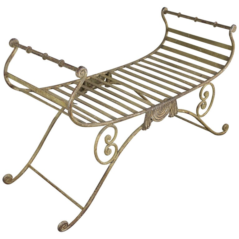 Neoclassical Iron Bench For Sale 2