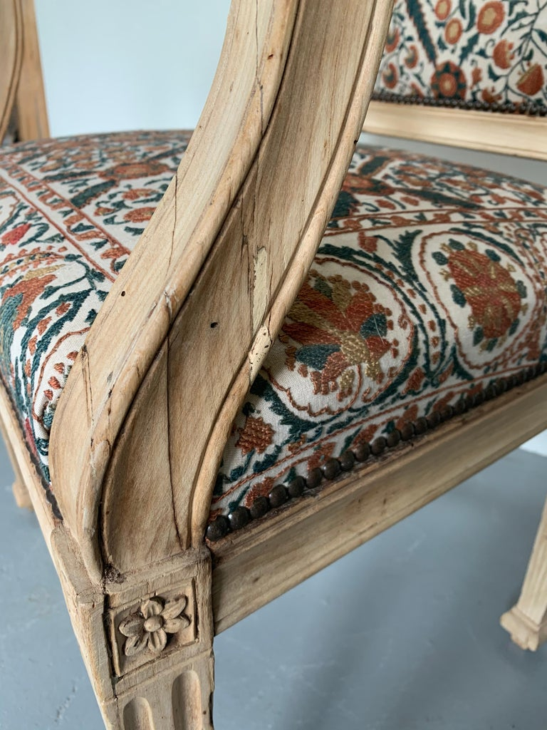Bleached Neoclassical Italian Armchair, 18th Century For Sale