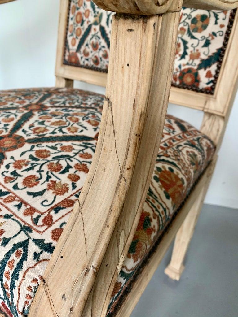 Walnut Neoclassical Italian Armchair, 18th Century For Sale