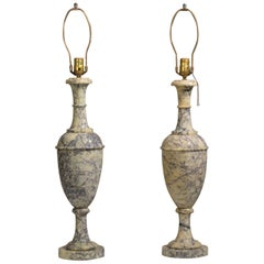 Neoclassical Italian Blue Veined Marble Urn Table Lamps