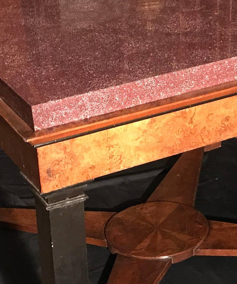 Late 18th Century Neoclassical Italian Center Table with Imperial Porphyry Marble Tabletop For Sale