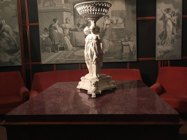 Neoclassical Italian Center Table with Imperial Porphyry Marble Tabletop For Sale 1
