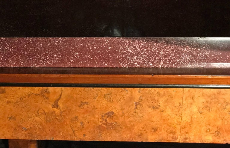 Neoclassical Italian Center Table with Imperial Porphyry Marble Tabletop For Sale 2