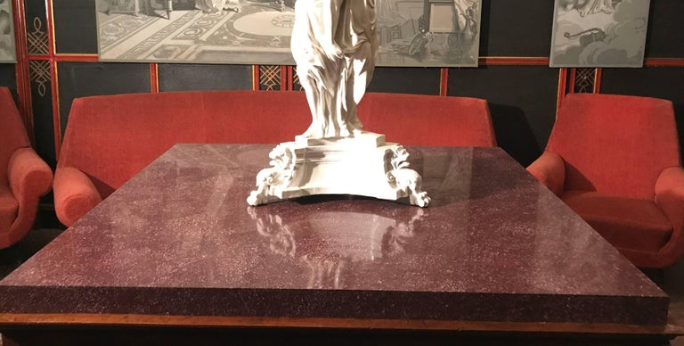 Neoclassical Italian Center Table with Imperial Porphyry Marble Tabletop For Sale 3