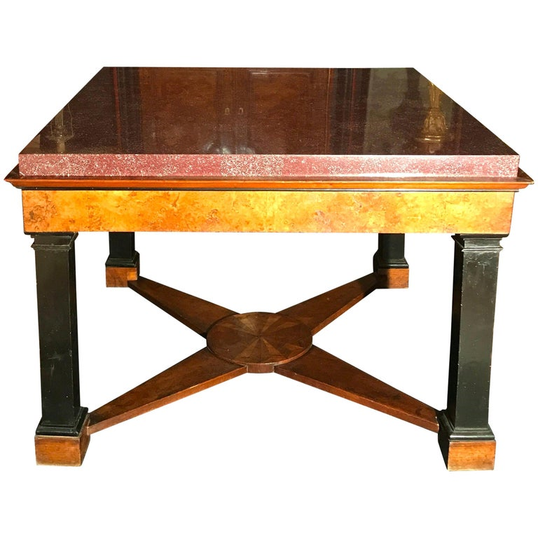 Neoclassical Italian Center Table with Imperial Porphyry Marble Tabletop For Sale