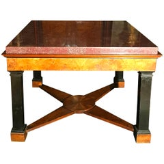 Neoclassical Italian Center Table with Imperial Porphyry Marble Tabletop