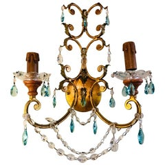 Neoclassical Italian Crystal Sconce, Handcrafted in Gilt Metal, a Pair
