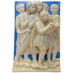 Neoclassical Italian Della Robbia Ceramic Wall Hanging in High Relief