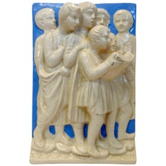Neoclassical Italian Della Robbia Ceramic Wall Hanging in High Relief