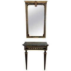 Neoclassical Italian Giltwood Carved Mirror & Marble Top Console Table M/I Italy