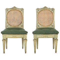 Neoclassical Italian Pair of Polychromed Antique Side Chairs, circa 1790-1810