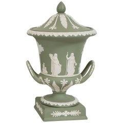 Neoclassical Jasperware Ceramic Covered Urn in Olive and White by Wedgwood