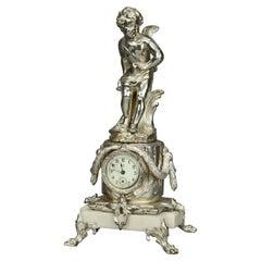 Neoclassical Jennings Silver Gilt and Marble Figural Cherub Clock, circa 1890