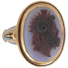 Neoclassical Large Agate Cameo Triton Ring
