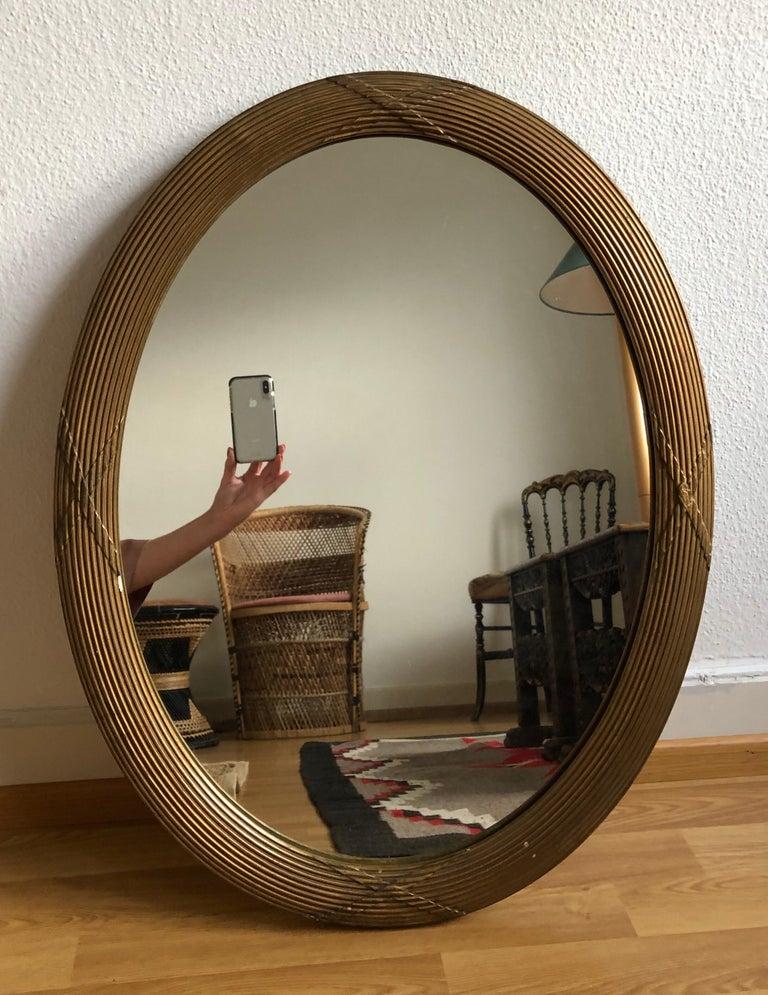 Neoclassical Large Elegant Cross Details Oval Mirror