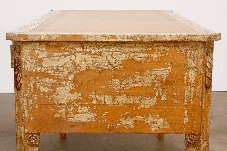 20th Century Neoclassical Leather Top Desk with Scraped Lacquer Finish For Sale
