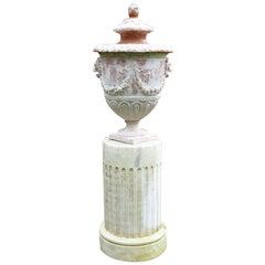 Neoclassical Lidded Urn on Pedestal
