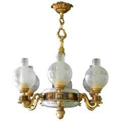 Neoclassical Lions Head Chandelier French Gilt Bronze Crystal Midcentury
