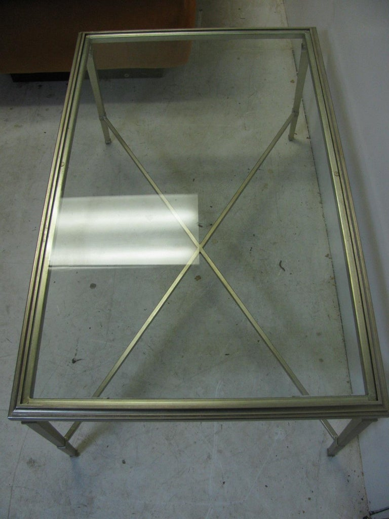 Neoclassical Louis XVI Gilt Metal Silver Leaf Cocktail Table For Sale 4