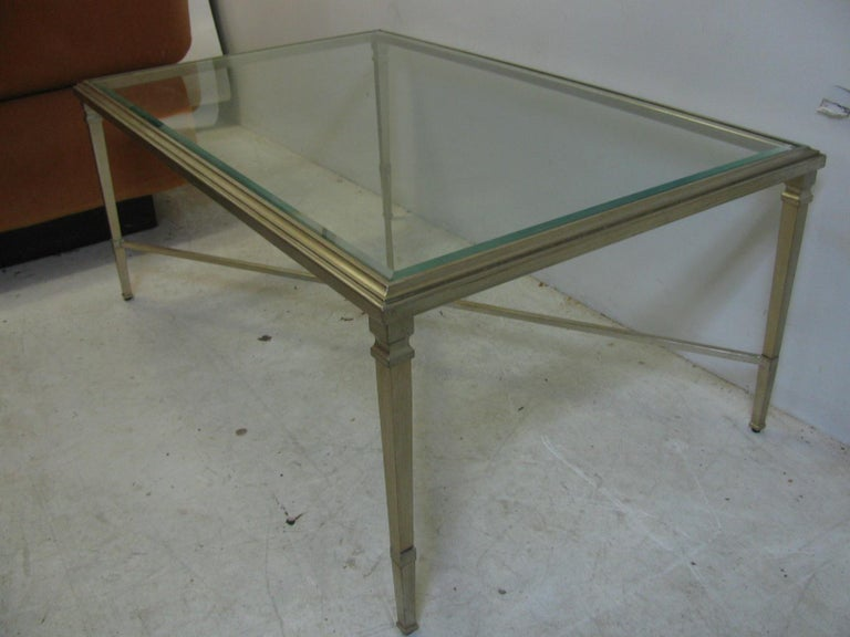 American Neoclassical Louis XVI Gilt Metal Silver Leaf Cocktail Table For Sale