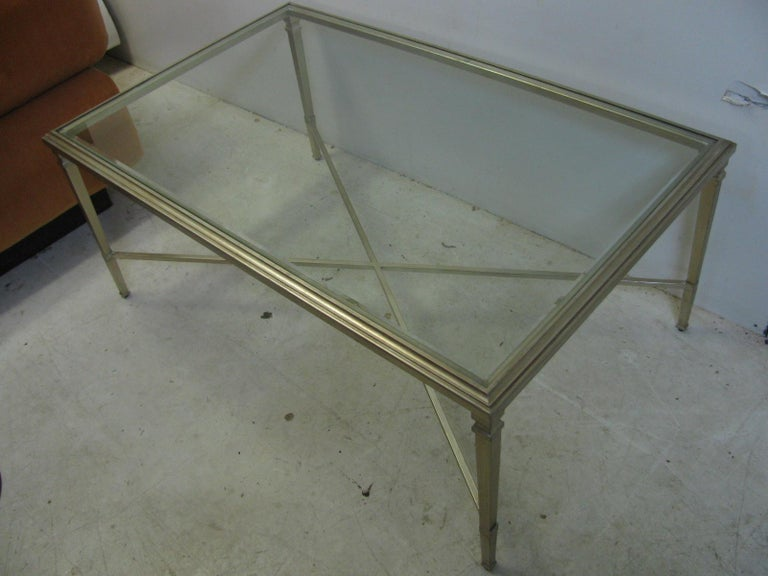 Beveled Neoclassical Louis XVI Gilt Metal Silver Leaf Cocktail Table For Sale