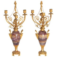Neoclassical / Louis XVI-Style Gilt Bronze-Mounted Blue John Candelabra