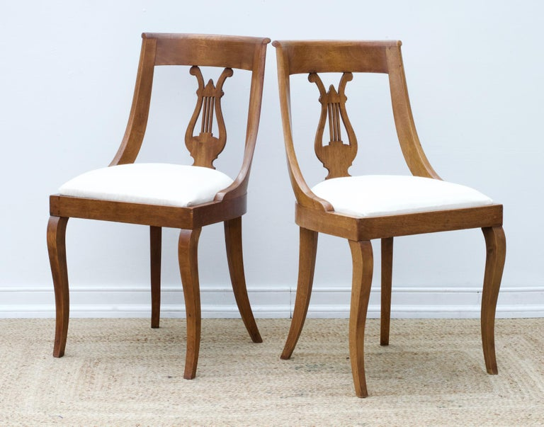 Austrian Neoclassical Lyre Back Game Table Chairs, Set of 4 For Sale