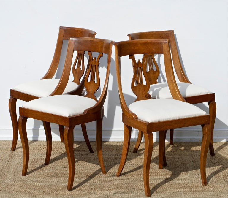 Biedermeier Neoclassical Lyre Back Game Table Chairs, Set of 4 For Sale