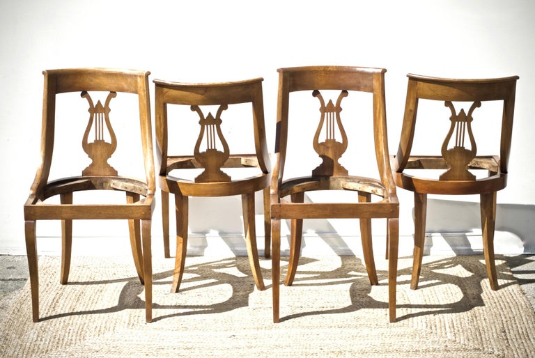 Birch Neoclassical Lyre Back Game Table Chairs, Set of 4 For Sale