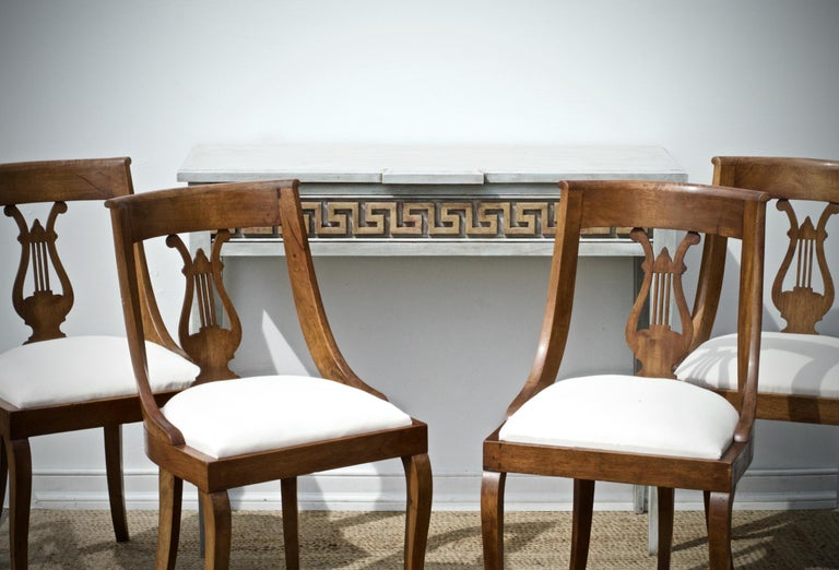 Neoclassical Lyre Back Game Table Chairs, Set of 4 In Good Condition For Sale In Charlottesville, VA