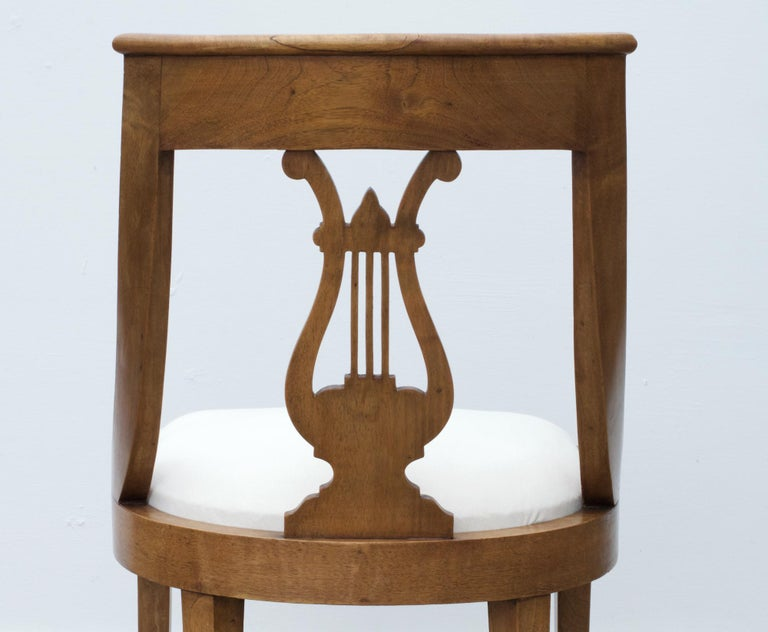 Neoclassical Lyre Back Game Table Chairs, Set of 4 For Sale 3