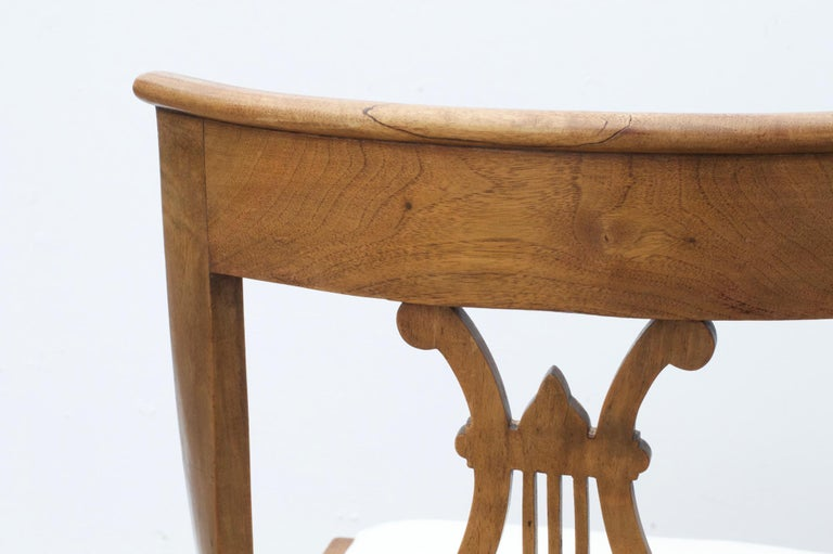 Neoclassical Lyre Back Game Table Chairs, Set of 4 For Sale 4