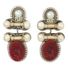 Neoclassical M & J Hansen Glass Intaglio Earrings, 1991