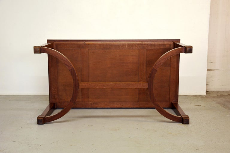 Neoclassical Mahogany and Leather Desk in the Style of André Arbus, France 1940s For Sale 8